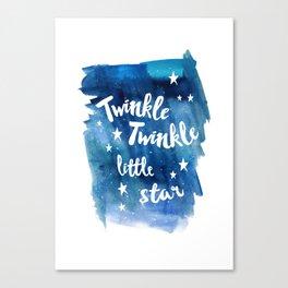 twinkle, little, star, blue, watercolor, night sky, nursery, childrens room Canvas Print
