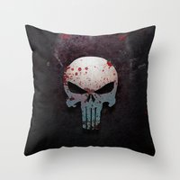 punisher Throw Pillows featuring Punisher Skull  by Electra