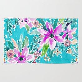TROPICAL BENEVOLENCE Aqua Floral Rug
