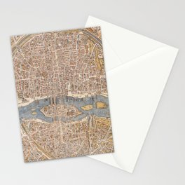 Vintage Map of Paris (1550) Stationery Cards