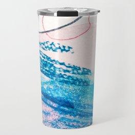 Abstract hand painted pink blue watercolor brushstrokes Travel Mug