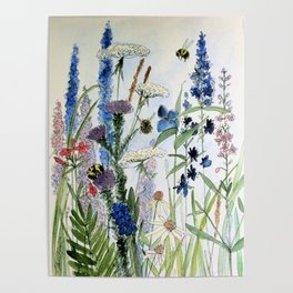 Wildflower in Garden Watercolor Flower Illustration Painting Poster