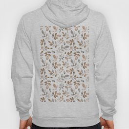Watercolor brown fall autumn leaves floral Hoody