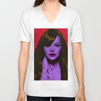 emma stone V-neck T-shirts featuring Emma Stone by Bolin Cradley Art