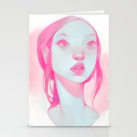 loish Stationery Cards featuring visage - pink by loish