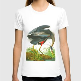 Great blue heron John James Audubon Vintage Scientific Bird Illustration T-shirt