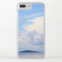 Blue Lakescape With White Clouds In The Blue Sky #decor #society6 Clear iPhone Case
