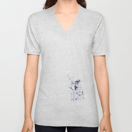 wine and dine sketch Unisex V-Neck