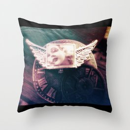 Midnight STEAM steampunk angel by The Whimsical Peacock Throw Pillow
