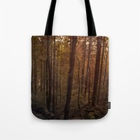 poland Tote Bags featuring Forest in Poland by vikfdz