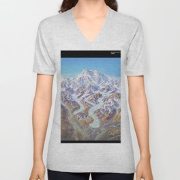 Heinrich Berann - Panoramic Painting of Denali National Park with labels (1994) Unisex V-Neck