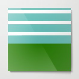 Summer Delight, teal, white and green Metal Print