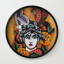 Woman with snake Wall Clock