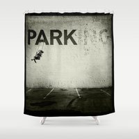 banksy Shower Curtains featuring Banksy Tag by Adam Reynolds