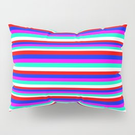 Colored Stripes - Fire Red Royal Blue Pink Mint White Pillow Sham