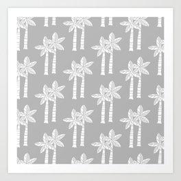 Palm Tree Pattern Grey 3 Art Print