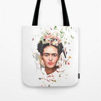 frida Tote Bags featuring Frida by Tracie Andrews