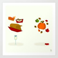 thanksgiving Art Prints featuring Thanksgiving & Fall by Derek Temple
