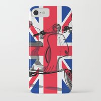 british flag iPhone & iPod Cases featuring British Flag Scooter by Hello Tokyo Go Go