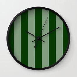 Forest Green Vertical Stripes Wall Clock