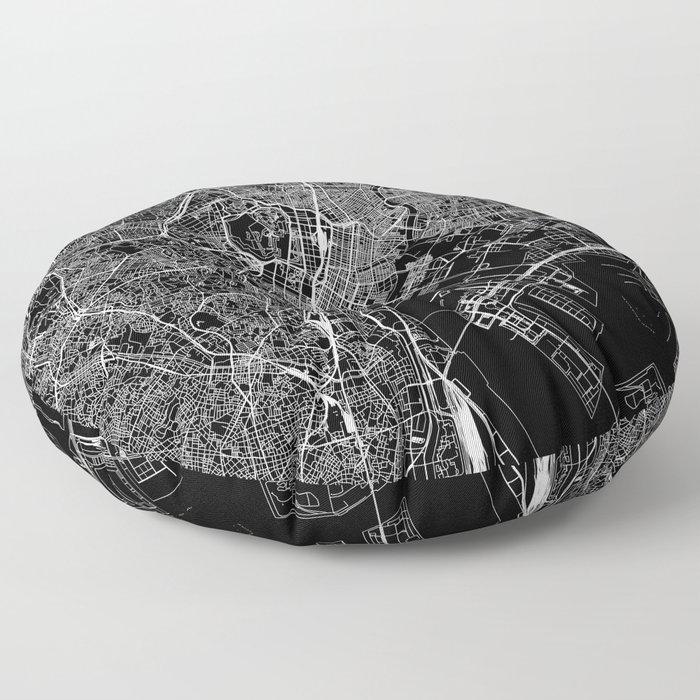 Tokyo Black Map Floor Pillow