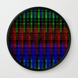Abstract, multi-color, plaid Wall Clock