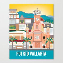 Puerto Vallarta, Mexico - Skyline Illustration by Loose Petals Canvas Print