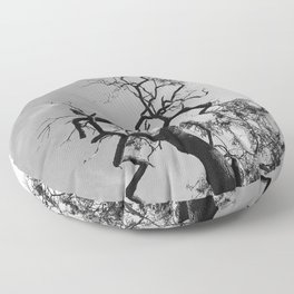 Old Spooky Bare Tree Branches Floor Pillow