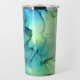 Blue Green Spring Marble Abstract Ink Painting Travel Mug