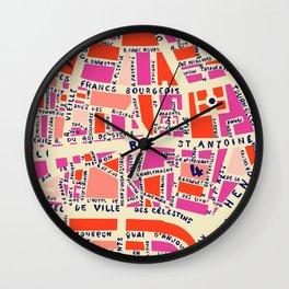 paris map pink Wall Clock