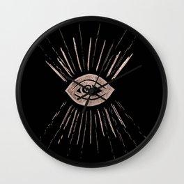 Evil Eye Rose Gold on Black #1 #drawing #decor #art #society6 Wall Clock
