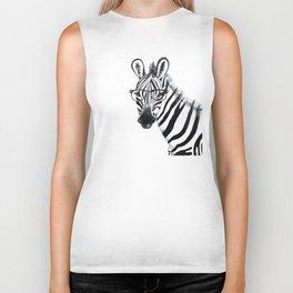 Zebra with glasses, black and white Biker Tank