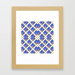 ABSTRACTED BLUE & GOLD PATTERN  CALLA LILIES  DESIGN Framed Art Print