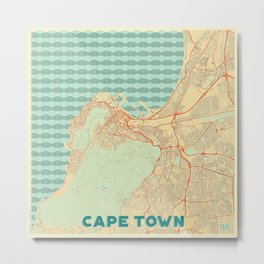 Cape Town Map Retro Metal Print