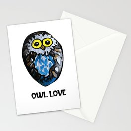 Owl Love Rock Painting on River Rock by annmariescreations Stationery Cards