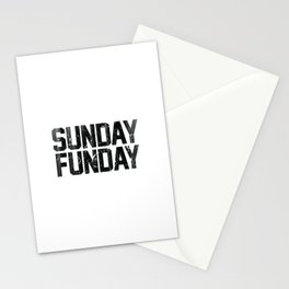 Sunday Funday Dirty Vintage Varsity Typography Print Stationery Cards