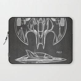 Batwing Patent - Bat Wing Art - Black Chalkboard Laptop Sleeve