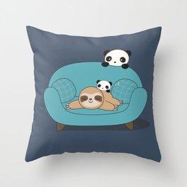Kawaii Panda and Sloth Throw Pillow