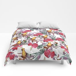 Watercolor red green roses yellow birds pattern Comforters