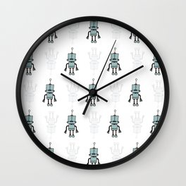 Blue Robot Wall Clock