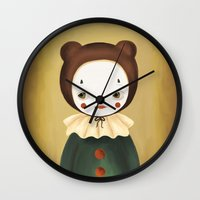 lucy Wall Clocks featuring Lucy by The Midnight Rabbit
