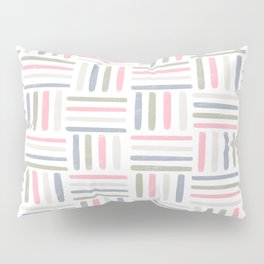 Linear Weave // Basket Weave Design in pastel colours, pink, white, grey, olive  Pillow Sham