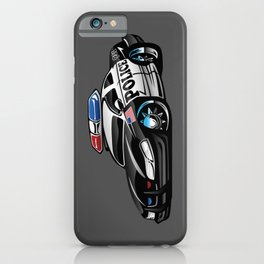 Police Muscle Car Cartoon Illustration iPhone Case
