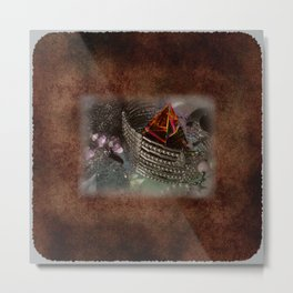 Amber Pyramid and Trinkets on Burnt Paper Metal Print