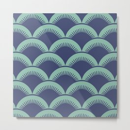 Japanese Fan Pattern Blue and Turquoise Metal Print