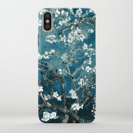 Van Gogh Almond Blossoms : Dark Teal iPhone Case