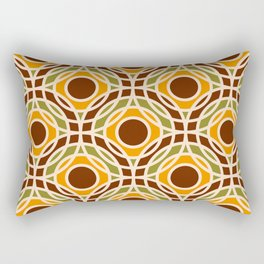Retro Bauhaus circles mosaic Brown Yellow Rectangular Pillow