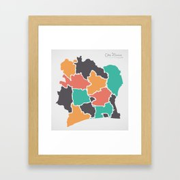 Ivory Coast Map with states and modern round shapes Framed Art Print