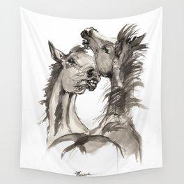 Arabian foals ink art Wall Tapestry