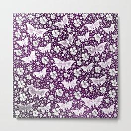 purple,siilver,flowers, stars, butterfly, pattern, bright, shiny, elegant, color Metal Print